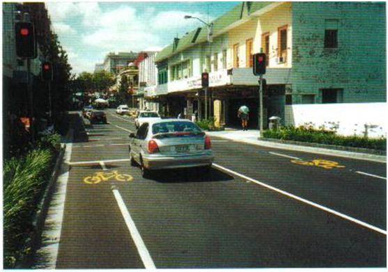 انواع مکان های علائم دوچرخه سواری بر روی مسیر های دوچرخه سواری که با مسیر های خودرو مشترک هستند