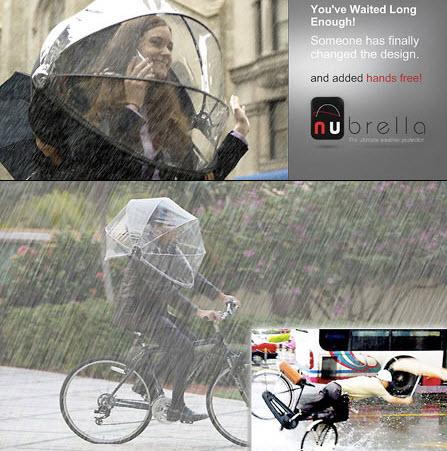Nubrellaچتری برای دوچرخه سواران