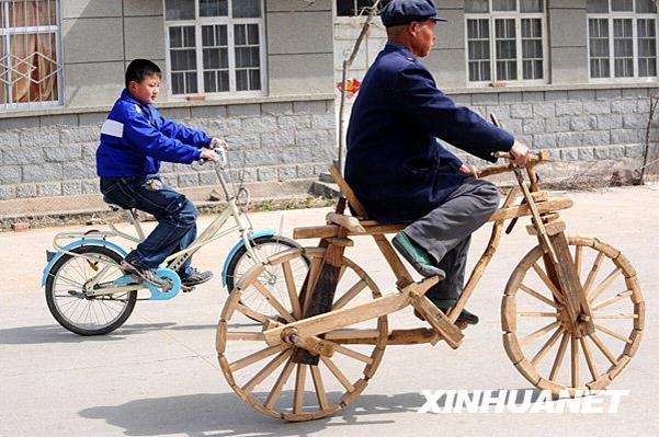 عکس/ دوچرخه چوبی