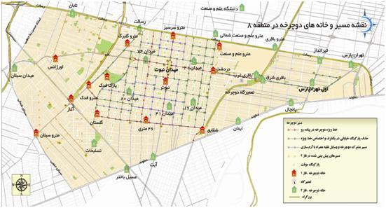 تصاويري از نقشه خانه های دوچرخه،مسيرها و چراغهاي احداث شده در منطقه 8 در فاز 1 و 2 (1)